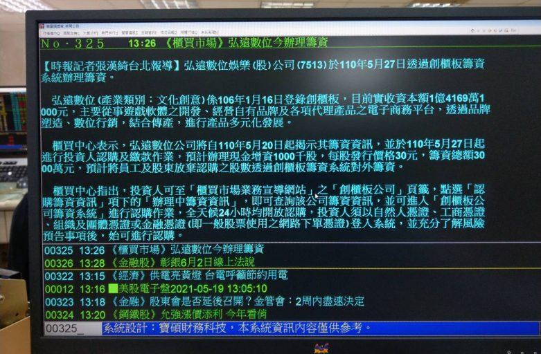 【520大紀事 弘遠數位娛樂(股)公司即日起辦理籌資】